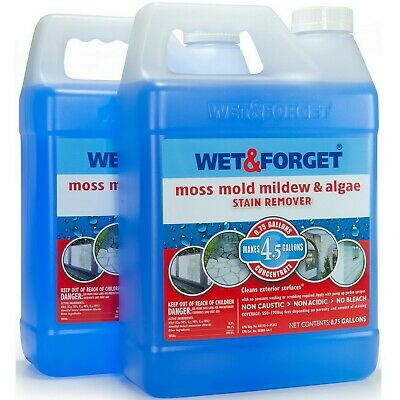 Wet & Forget Moss Mold and Mildew Algae Stain Remover .75 Gallon 2 Pack - Mildew Stain Removal
