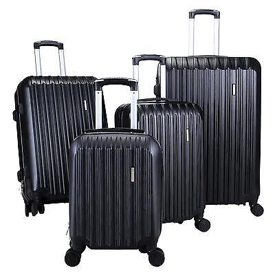 4Pcs Black Luggage Travel Set Bag ABS Trolley Spinner Carry On Suitcase TSA Lock