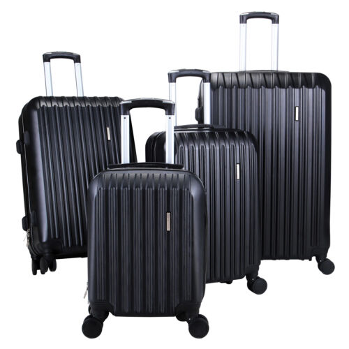 Купить Uenjoy - 4Pcs Black Luggage Travel Set Bag ABS Trolley Spinner Carry On Suitcase TSA Lock