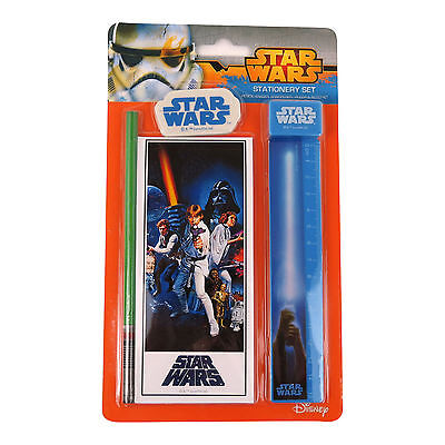 STAR WARS A NEW HOPE 5 PIECE STATIONERY SET LIGHTSABER PENCIL + MORE DISNEY