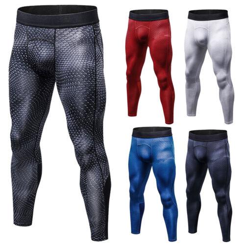 Herren Gym Sport Thermal Compression Leggings Hosen Sportlich Baselayer Hose DE