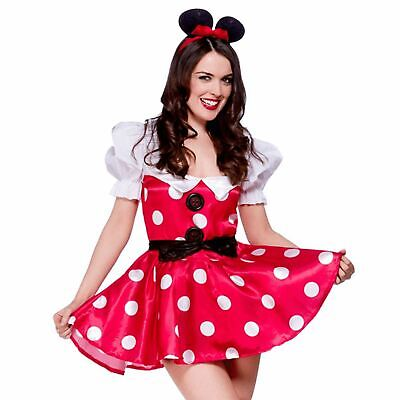 Minnie Mouse Adult Outfit (Adults Ladies Sexy Naughty Minnie Mouse Fancy Dress Costume)
