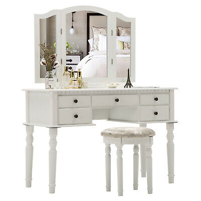 Vanity Makeup Dressing Table Set Folding Mirror Desk Dresser with Stool White