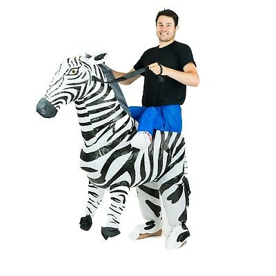 Animal Mascot Halloween Costumes (Adult Inflatable Zebra Animal Mascot Costume Outfit Suit Halloween Stag One)