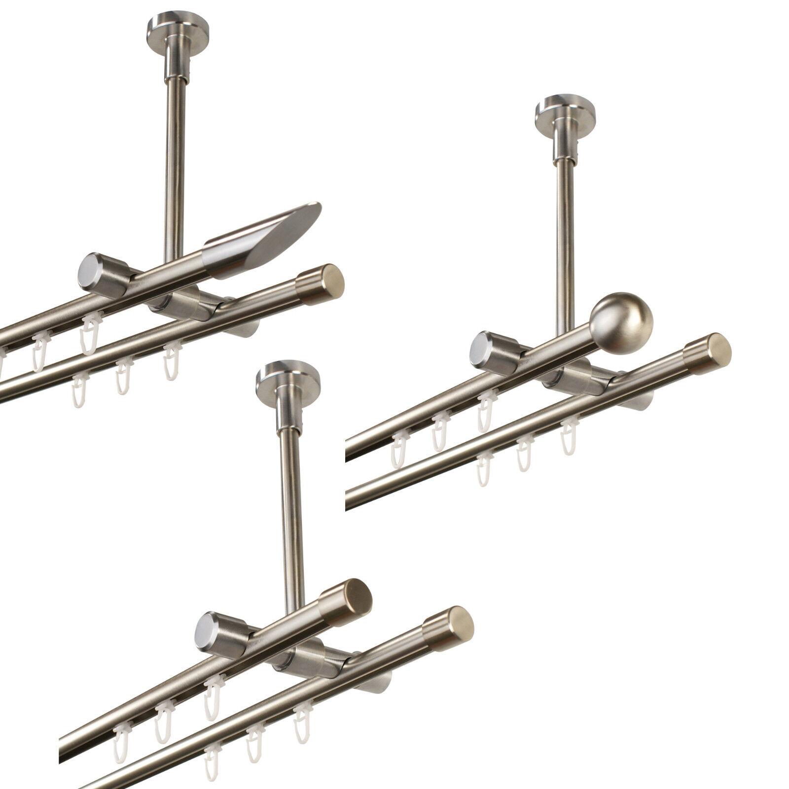 Gardinenstange Innenlauf 2-läufig 16 mm Deckenmontage, Metall in Edelstahl Optik