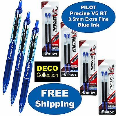 Pilor Precise V5 Rt Deco 3 Pens 4 Packs Of Refills Blue Ink 0.5mm Extra Fine