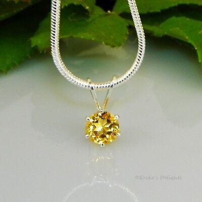 Golden Citrine Sterling Silver Pendant  w/ Snake Chain Necklace Citrine Sterling Silver Necklace