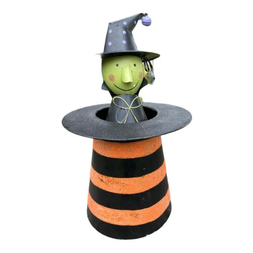 tin witch in tophat halloween decoration