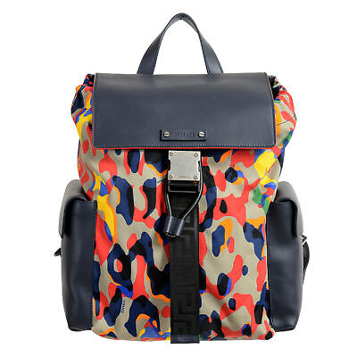 Versace Unisex Multi-Color Leather Trimmed Backpack