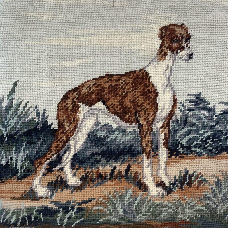 "Italian Greyhound Dog Needlepoint Pillowcase 14"" Square Velveteen Back Zipper"