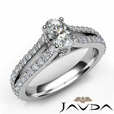 French V Pave Split Shank Oval Diamond Engagement Bezel Ring GIA D SI1 1.15 Ct