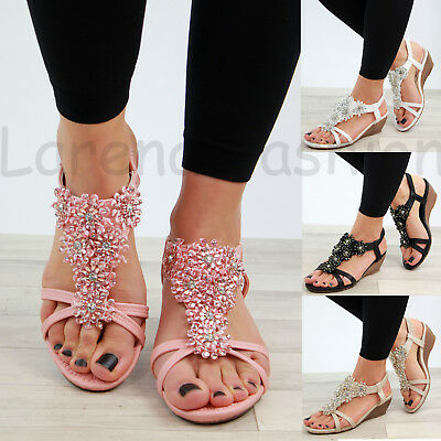 New Womens Mid Wedge Heel Sandals Peep Toe Flower Strappy Holiday Shoes Sizes Mid Wedge Sandal