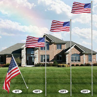 6/20/25/30Ft US American National Flagpole Telescoping Kit 3x5' Flag Gold Ball Home Flag Kit