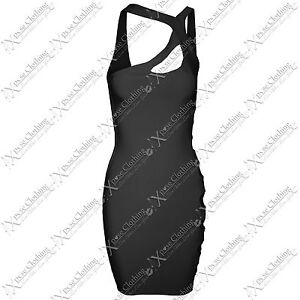 LADIES OFF ONE SHOUDER CUT OUT SIDE DRESS WOMENS SEXY BODYCON PARTY MINI DRESSES