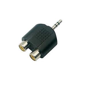 2X-RCA-PHONO-Female-Sockets-to-3-5mm-Jack-Male-Plug-Audio-Converter-Adapter