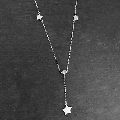 Star with Round CZ Y-Necklace - 925 Sterling Silver - Stars Celestial Gift NEW