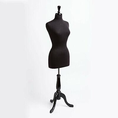 Female Mannequin Torso Dress Form Women Clothing Display Wood Tripod Stand Black