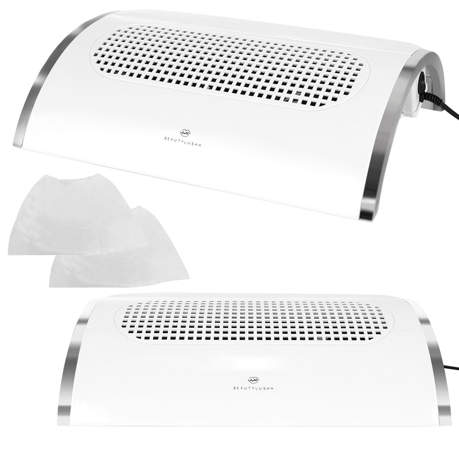 Staubabsaugung für Nagel Tischabsaugung mit 3 Lüfter und  2 Staubsäcken Weiß 888