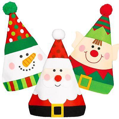 Kinder Weihnachten Character's Hut Santa, Schneemann, Elf Festlich Zubehör (Santa, Elf Hut)