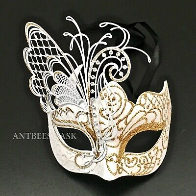 Venetian Masquerade Women White Gold Glitter Butterfly Elaborate Party Mask - Butterfly Masquerade Mask