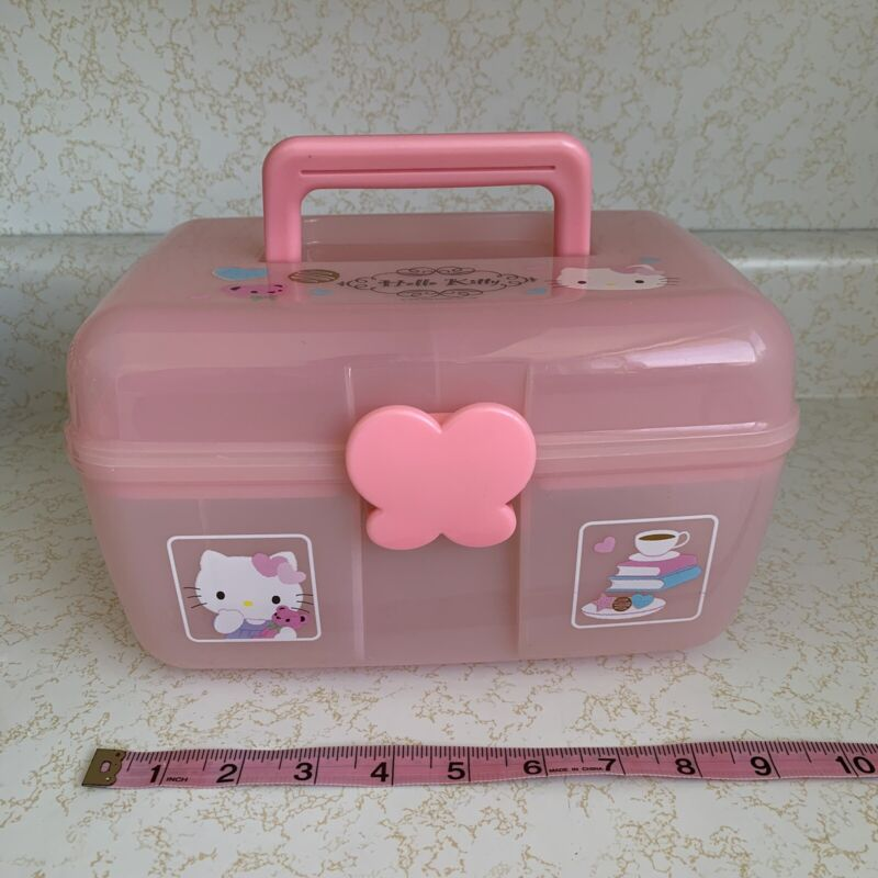 SANRIO HELLO KITTY PINK PENCIL STATIONERY BOX TRAIN COSMETIC CARRY CASE