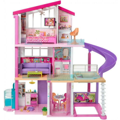 NEW Barbie Dreamhouse Dollhouse with Pool Slide Elevator and 70+ Pieces Playset