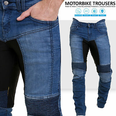 Blue Denim Motorcycle Pant (Mens Motorcycle Pants Motorbike Stretch Panel Aramid Protection Lining Trousers )