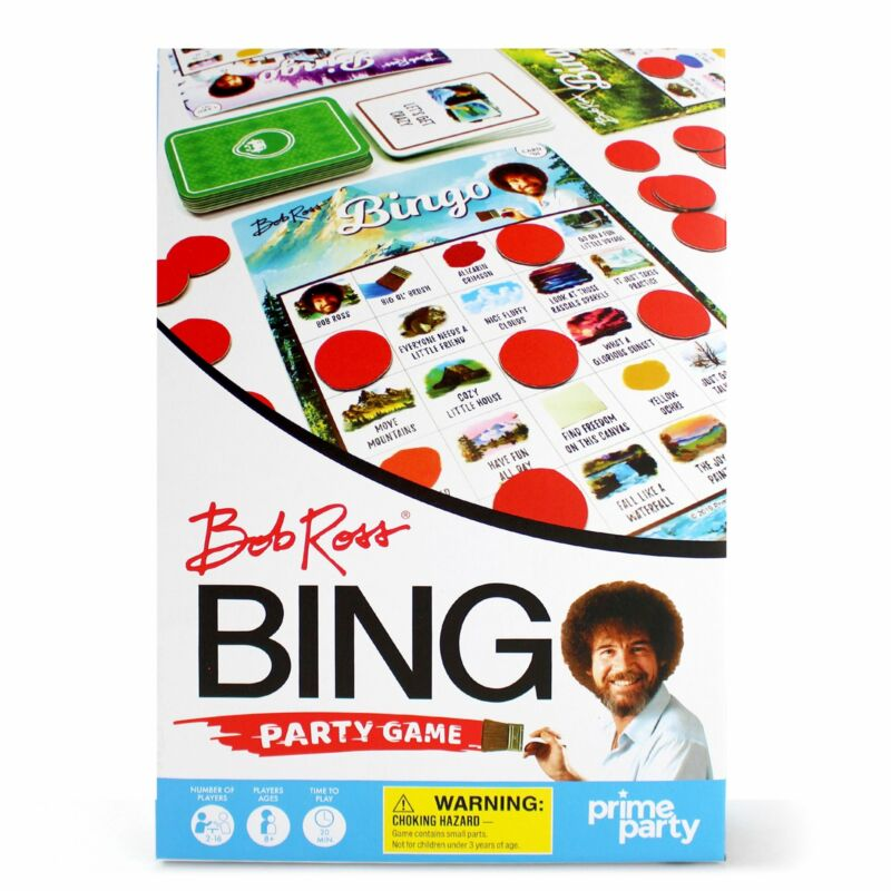 Bob Ross Deluxe Bingo Party Game for 16 – Bob Ross Birthday, Fun for All Ages