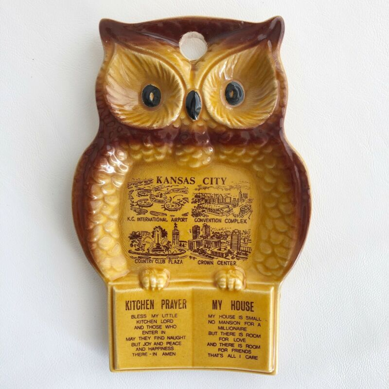 VINTAGE CERAMIC KITCHEN PRAYER OWL KANSAS CITY SOUVENIER SPOON REST WALL PLAQUE