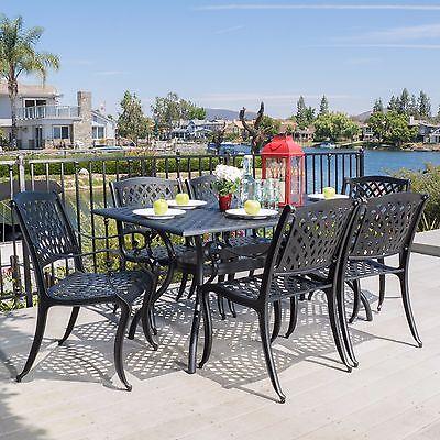 Outdoor 7-piece Cast Aluminum Black Sand Dining Set