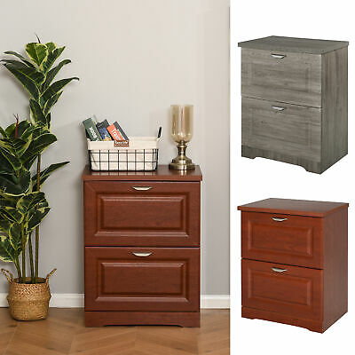 Homcom Lateral File Chest Cabinet Wooden Documents Storage With 2 Drawers