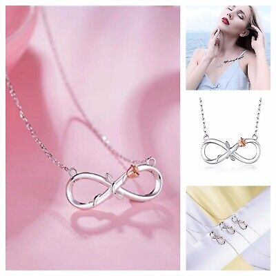 Silver Infinity Necklace Rose Flower Women Pendant 18K White Gold-Plated 18 -