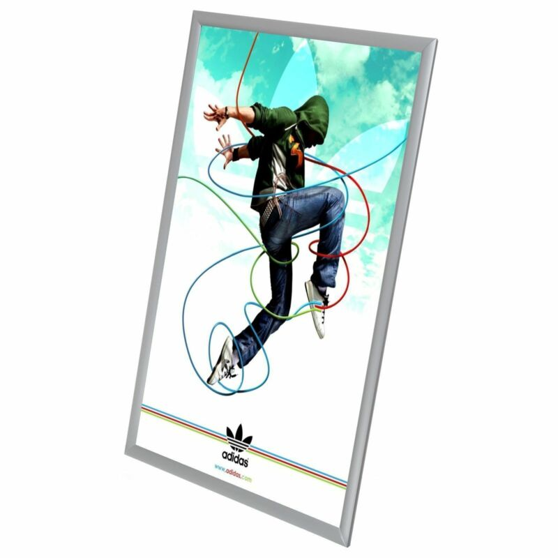 """Silver A3 Poster Frame 11""""x17"""" Wall Mount Snap Open Picture"""