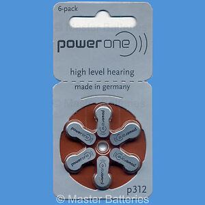 60 Power One Hearing Aid Batteries (Size 312, P312, PR41) EXP: 2019
