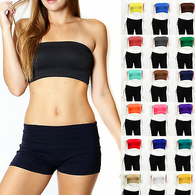 Tube Top Bra Seamless Bandeau Strapless Bralette Stretch layering Solid Crop Top](Top Deals)