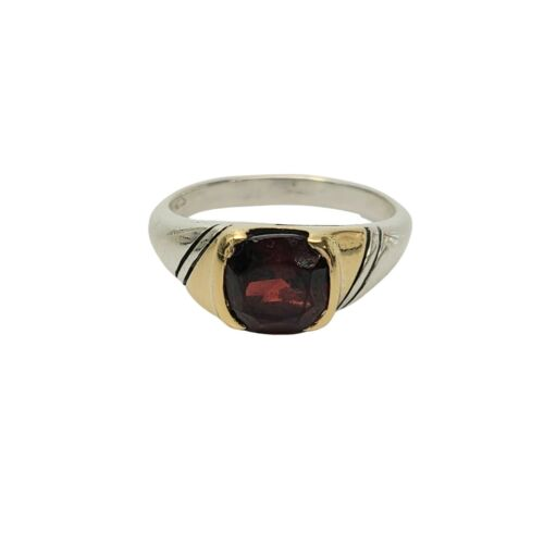 Vintage Gucci Sterling Silver 18K Gold Accent Red Stone Ring Size 5 1/2 #9739