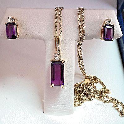 14k Gold 2.25 Ct Amethyst & .12 Carat Diamond Earring & Necklace Pendant Set