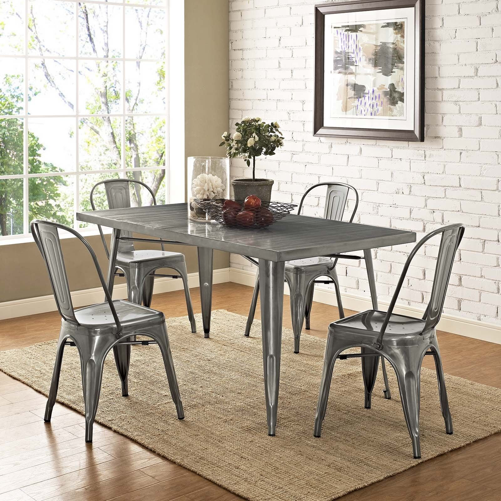 Details About Industrial Modern Tolix Style Gunmetal Aluminum Bistro Dining  Chairs   Set Of 4