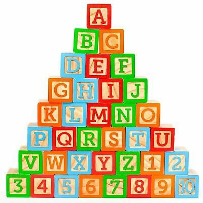"ABC Wooden Building Blocks for Baby. Large (1 ¾"" ) Jumbo Size w/ Letters, Num..."