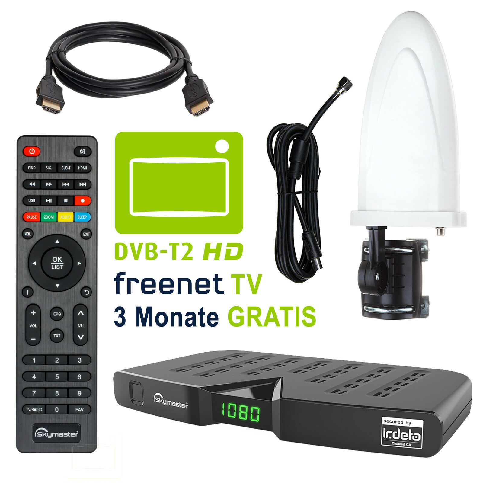 DVB-T2 Freenet TV FULL HD Terrestrisch Receiver Skymaster DTR 5000 +Antenne 30dB
