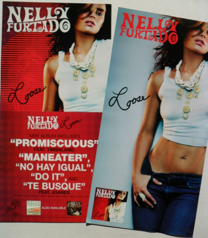 "NELLY FURTADO ""LOOSE"" 2-SIDED U.S. PROMO POSTER/BANNER - Folk, R&B, Latin Pop"