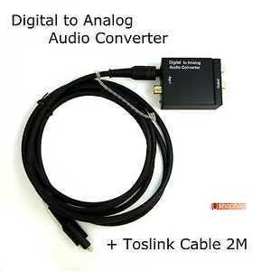 digital to analog audio converter toslink cable optical to l r rca ebay. Black Bedroom Furniture Sets. Home Design Ideas