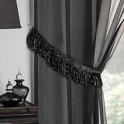 SILVER SPARKLE GLITTER TASSEL FRINGE  BLACK  CURTAIN TIEBACKS £4.99 PER PAIR - Silver Glitter Curtains