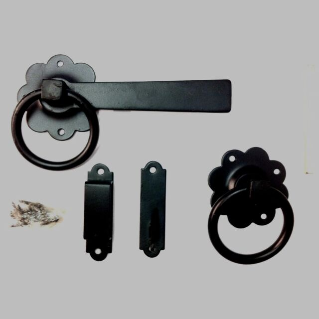 """6"""" Powder Coated Ring Latch - Gate Door Garden Black 6 Shed Vintage Handle Style"""