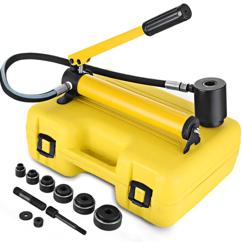 """10 Ton Hydraulic Knockout Punch 1/2""""-2"""" 6 Dies Electrical Conduit Hole Cutter"""