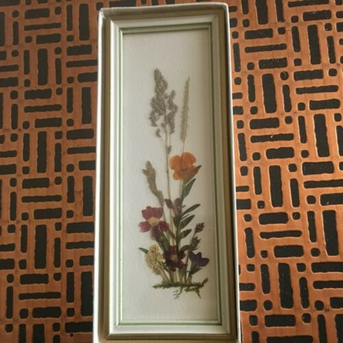 """Made in East Germany"". Original Framed Dried Flowers Wall Hanging. (Rare)"