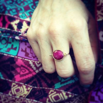 Red/Fuschia Real Ruby Gemstone Gold Filled Wire Ring/Vermeil Frame Gold Filled Wire Ring