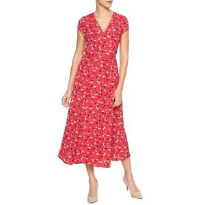 Gap red floral midi wrap dress