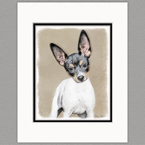 Rat Terrier Dog Original Art Print 8x10 Matted to 11x14