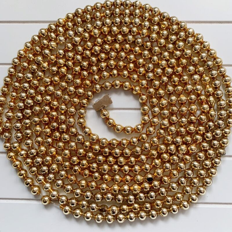 Vintage Gold Mercury Glass Beads Christmas Tree Garland 140""